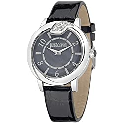 Just Cavalli Spire Women's Quartz Watch with Black Dial Analogue Display and Black Leather Strap R7251598501