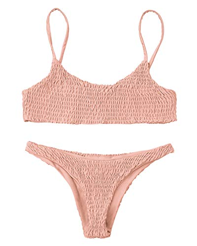 ZAFUL Damen Cami Smocked Bikini-Sets mit Spaghetti-Träger Bikinis Bademode Badeanzug Swimwear Swimsuit Large Rosa (Chinlon Damen Polyester, Badeanzug)