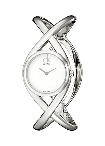 Calvin Klein Women's Quartz Watch with White Dial Analogue Display and Silver Stainless Steel Bracelet K2L23120