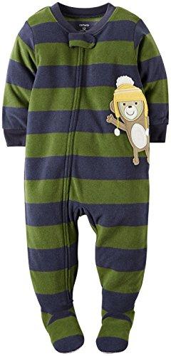 carters-schlafanzug-86-92-fleece-us-grosse-2-t-einteiler-junge-affe-blau-grun-gestreift-warm
