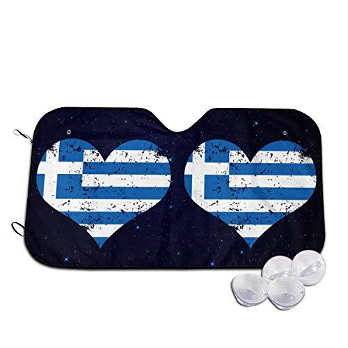 Bellaer Parasole per Auto, Greece Heart Flag Front Car Sunshade Windshield Foldable Sunshade for Car SUV Trucks Minivans Sunshades Keeps Vehicle Coo