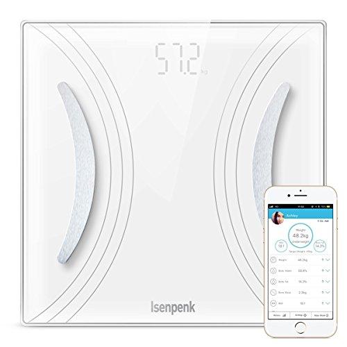 ISENPENK Bluetooth 4.0 báscula digital con iOS y Android APP es su asistente de fitness. Es perfecta para quienes desean todos los datos corporal y no solo la medición del peso.  Características:  Los 8 índices de salud en la aplicación iWellness 3.0...