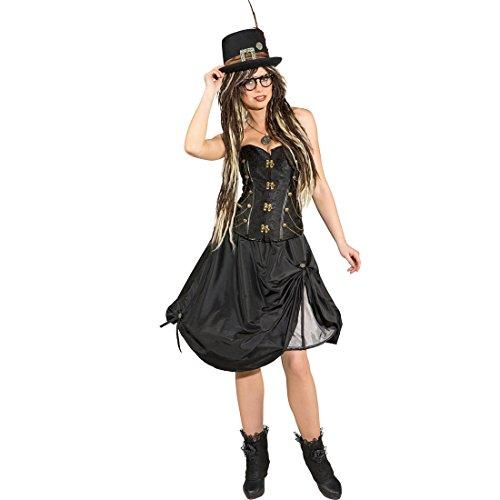 Reifrock Damen gerafft Steampunk Rock schwarz 34/36 (XS/S) Viktorianischer Damenrock Piratenrock Frauen