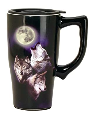 Spoontiques 12706 410ml Ceramic Travel Mug - 3 Wolves and Moon