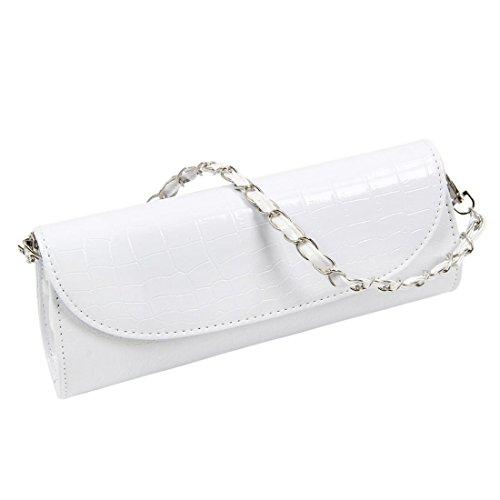 TOOGOO(R) Le nuove donne del sacchetto del cross-body della spalla della catena del raccoglitore di modo frizionano il raccoglitore-bianco Bianco