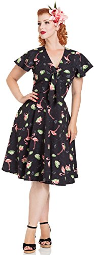 Voodoo Vixen Kleid Lena Flamingo Print Tea Dress 8463 Schwarz XL