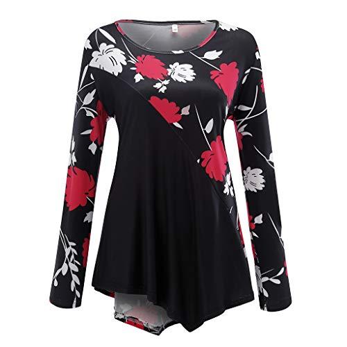 VEMOW Sommer Herbst Elegant Damen Oberteil Langarm O Neck Printed Flared Floral Beiläufig Täglich Geschäft Trainieren Tops Tunika T-Shirt Bluse Pulli(A-Rot, 42 DE/L CN)
