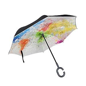 jstel doble capa diseño mapa del mundo pintura paraguas coches Reverse resistente al viento lluvia paraguas para coche al aire libre con asa en forma de C