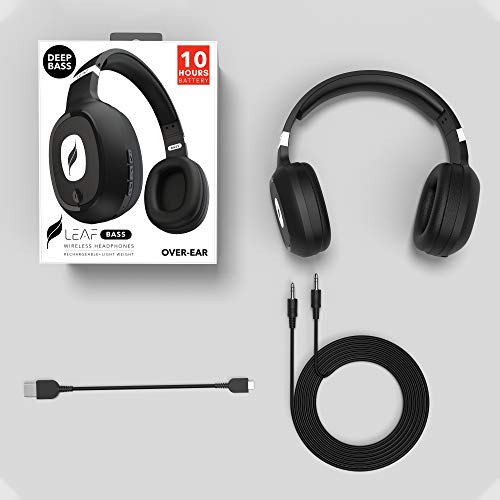 Leaf Bass Wireless Bluetooth Headphones with Hi-Fi Mic and 10 Hours Battery Life, Over Ear Headphones with Super Soft Cushions and Deep Bass (Carbon Black) Image 7