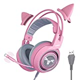 SOMIC G951rosa Spiel Kopfhörer, Rosa Kat Ohr Kopfhörer mit Virtuell 7.1 Umgeben Klingen, LED-Licht, Mikrofon zum Computer, PS4, Laptop zum Freundin/Frau (USB-Buchse)