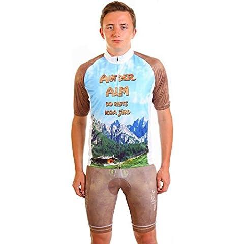 Trend-Promotion Austria - Maillot y mallas de ciclismo para hombre (corte italiano, diseño de traje bávaro y paisaje alpino), color azul - azul, tamaño XXXL