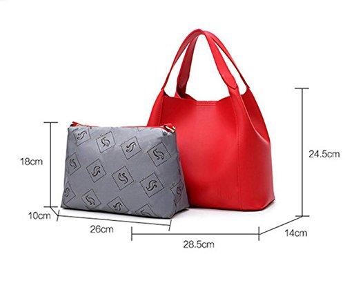 Frauen Beutel Eimer Art Schulterbeutel Kurierbeutel Europa Und Die Vereinigten Staaten Einfache Großraumhandtaschenpaket Paket Red