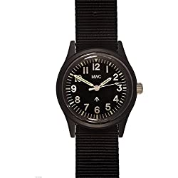 MWC CLASSIC 1960S/70S MATT BLACK EUROPEAN PATTERN QUARTZ WATCH