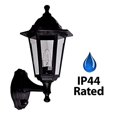 Traditional Style Black Outdoor Security Dusk to Dawn IP44 Rated Wall Light Lantern
