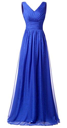 Eudolah Robe de soirée longue pailletée col V en mousseline et sequin Femme Bleu Saphir