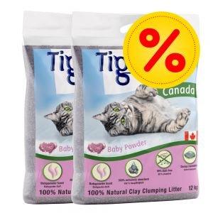 Doppelpack Tigerino Canada Katzenstreu mit Babypuderduft