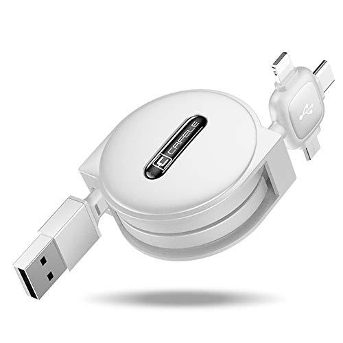 Cafele 3 in 1 Ausziehbares Roll-up Type C/Micro USB /Lightning Ladekabel Datenkabel Schnellladekabel für iPhone xs/xr/x/8plus/7/6s,iPad Air 2, Huawei P20 Pro/P2, Honor 8V usw. - 1.5M (Weiss) - P2 Usb