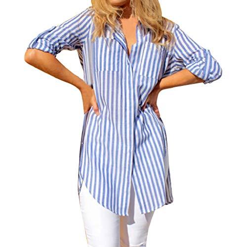 Bluse Tops Damen Langarmshirt Xjp Frauen Mode Gestreift Langarm Knöpfen Asymmetrisch Shirt Mit Tasche Lose Einfarbig Umlegekragen Neu Stil Unregelmäßig T-Shirt Oberteile Hemd(M, Blau) -
