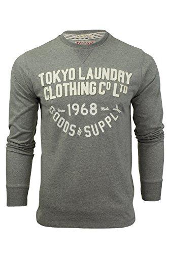 Herren langämliges T-Shirt/Oberteil von Tokyo Laundry Point Hendrick - Mitte Grau Marl