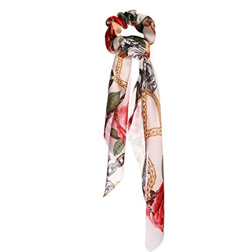 Vintage Stil Freizeit Elegant DIY Bogen Band Haarband Pferdeschwanz Schal Gewickelt Haarschmuck Geeignet für Ferien Strand Haarschmuck Schmuck Jewelry IsMoon (Weiß) (Diamant-bogen-haar-clip)