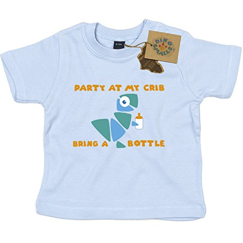 Gift Tshirt (Dino Smalls Party at My Crib Bring a Bottle Long Sleeve T-Shirt Gift for Newborn Baby or Toddler)