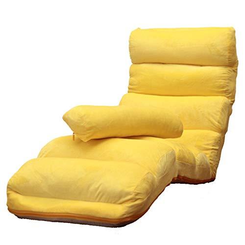 Young shinee Faul Liege Sofa Stuhl Einzelne Abnehmbare Waschbar Faltbares Bett Balkon Freizeit Sit Deck Chair Garten (Farbe : Yellow) (Deck Betten)