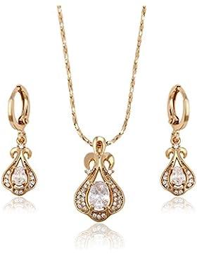 XUPING 18 K Gold color-plated Zirkonia Spring Ohrringe und Halskette Schmuck Sets