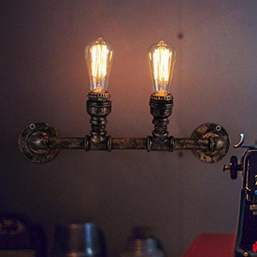 DZW Nordic Rétro Style Industriel En Fer Forgé Appliques Creative Double-Tête Pipe Mur Lampe Club Loft Bar Corridor Lampes Décoratives, Lumière E27 * 2, Taille 43 * 13 cm,Simple