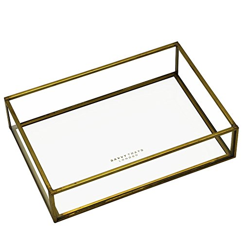 Savvy Trays Ablagekasten zum Stapeln, Messing / Glas, klein, offen, für Orangery-Ablagekasten oder Deckel