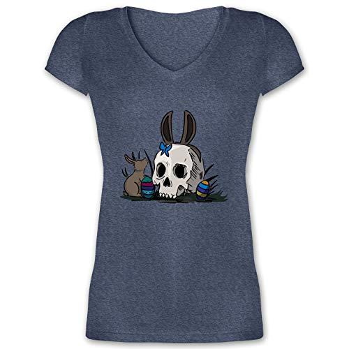 (Ostern - Totenschädel Ostern - S - Dunkelblau meliert - XO1525 - Damen T-Shirt mit V-Ausschnitt)
