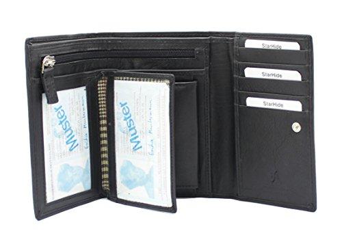 Starhide delle donne delle signore del cuoio genuino del raccoglitore della Borsa con multi-schede, La Finestra carta d'identità, con cerniera e tasca per le monete regalo inscatolato # 5515 Nero