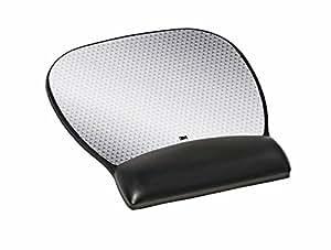 3M(TM) Precise(TM) Mouse Mat with Leatherette Gel Wrist Rest - Silver - 22.1cm x 23.4cm x 1.9cm