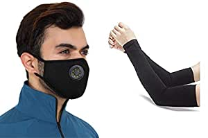 Never Lose Reusable Washable Anti Pollution Mask with Filter Valve With Cotton Pair Hand Sleeves