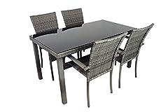Idea Regalo - AVANTI TRENDSTORE - Arezzo - Set da giardino in ecorattan grigio, 4 sedie e 1 tavolo con vetro nero, dimensioni LAP: tavolo 150x75x80 cm, sedia: LAP 46x90x62 cm