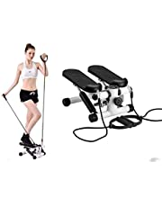 Keekos Mini Pedal Stepper with Resistance Bands and LCD Digital Display for Leg; Home Gym Equipment for Exercise Cycle with Stretching Rope for Workout