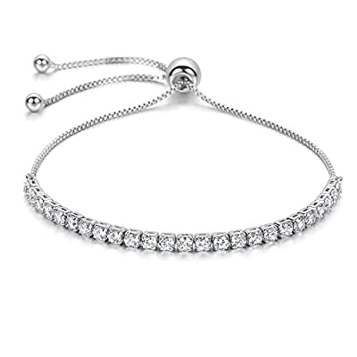 J.Fée Adjustable Silver Plated Bangle Bracelet 5A Cubic Zirconia - A Little Bangle of The Goddess Christmas Great Gift for Women Girl