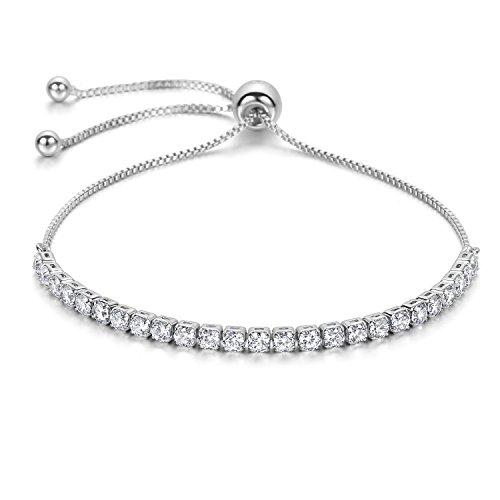 J.Fée Damen Verstellbares Armband Swarovski Kristalle Einstellbar Sterling Silber Armkette Schmuck für Frauen (5A CZ & Geschenkbox) (Für Teens Halloween-outfits)