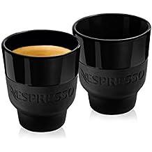 Nespresso 2 Touch Espresso tazas en porcelana negro y Soft-Touch de silicona, en