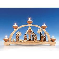Mire al trasluz el arco + el arco ligero de la vela del té con la luz del té, sistema de la natividad, arco ligero sin pintar Seiffen de 47 cm NUEVO