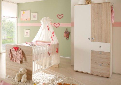 Babyzimmer WIKI Eiche Sonoma weiss 2er Set Schrank Babybett (Sonoma-office-schrank)