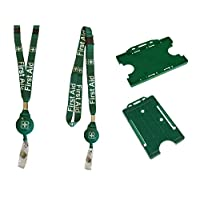 first aid badge reel & lanyard combination with double safety breakaway & double horizontal or vertical card holder