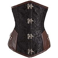 Bslingerie® donna Vintage in acciaio con stecche di Underbust Corsetto in pelle sintetica marrone