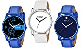 RIDIQA New Unique Collection Analog Blue, White Dial Unisex Watches Combo Set of 3 RD-206-07-08