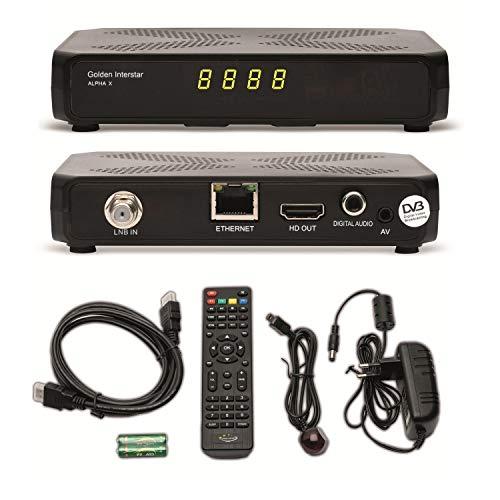 Golden Interstar Alpha X + ARLI HDMI Kabel vorprogrammiert Astra + auf Wunsch zum update Türksat Kanalliste Digitaler HD Sat Receiver ip tv YouTube Wetter IPTV xtream Stalker Multistream Linux USB Box