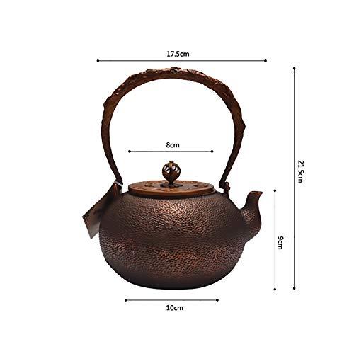 Mfun-CH Japanischer Stil Gegossen Kupfer Teekanne Kupfermetall Teekanne Mit Kupfer Deckel, Mit Isolierten Griff Teekanne, Gesundheit Retro-Handwerk, 1,2 L