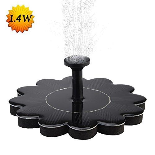 Dugoo Solar-Brunnen-Pumpe, 1.4W Outdoor Solar Floating Kit Sonnenblume Form Birdbath Tauchpumpe Spray Für Garten Terrasse Teich Dekoration (Kit Kaskaden)