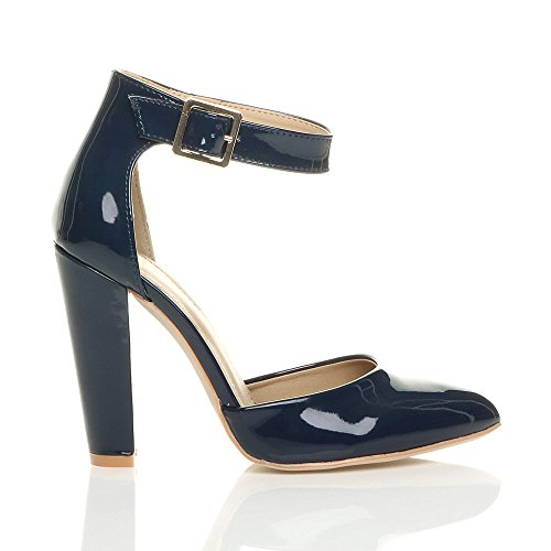 Ajvani Femmes Haute Large Talon Boucle Lanière Pointu Escarpins Chaussures Pointure Verni bleu foncé marine