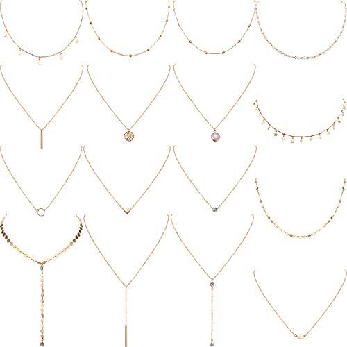 schichteten Choker Halskette Einstellbar Anhänger Halskette Mond Pailletten Choker Mehrschichtige Kette Halskette Set für Damen Mädchen (Gold) ()