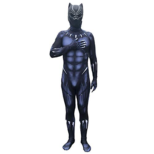 Panthers Black Party Kostüm - Hope Avengers Black Panther Kostüm, Cosplay Halloween Party Overall 3D Print Strampelanzug Kinder Erwachsene Kostüm Siamese Strumpfhosen,Mask and Costume-180~190 cm