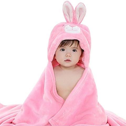 DINGANG® Kids Baby Bathrobe Cute Bunny Hooded Ultra-soft Fleece Bathing Wrap Blanket,0-6 Years Old